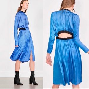 {Zara Studio} Open Back Satin Slit Dress